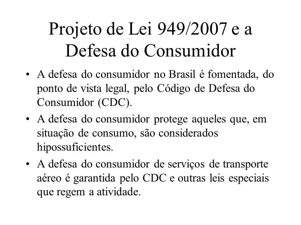 Projeto de Lei 949/2007 e a Defesa do Consumidor A defesa do consumidor no Brasil é fomentada, do ponto de vista legal, pelo Código de Defesa do Consu