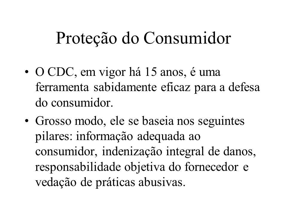 Proteção do Consumidor O CDC, em vigor há 15 anos, é uma ferramenta sabidamente eficaz para a defesa do consumidor. Grosso modo, ele se baseia nos seg