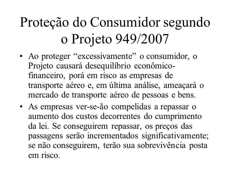 Proteção do Consumidor segundo o Projeto 949/2007 Ao proteger excessivamente o consumidor, o Projeto causará desequilíbrio econômico- financeiro, porá