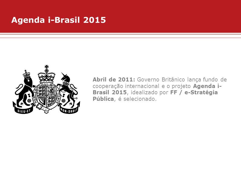 Agenda i-Brasil 2015 Abril de 2011: Governo Britânico lança fundo de cooperação internacional e o projeto Agenda i- Brasil 2015, idealizado por FF / e