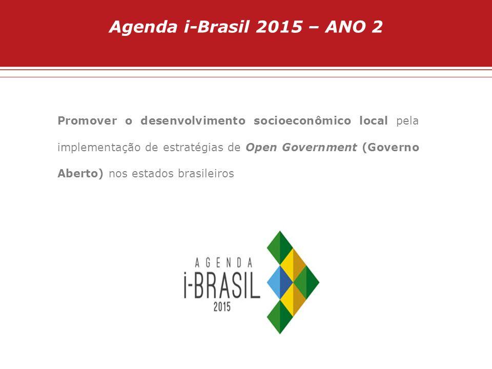 Agenda i-Brasil 2015 – ANO 2 Promover o desenvolvimento socioeconômico local pela implementação de estratégias de Open Government (Governo Aberto) nos
