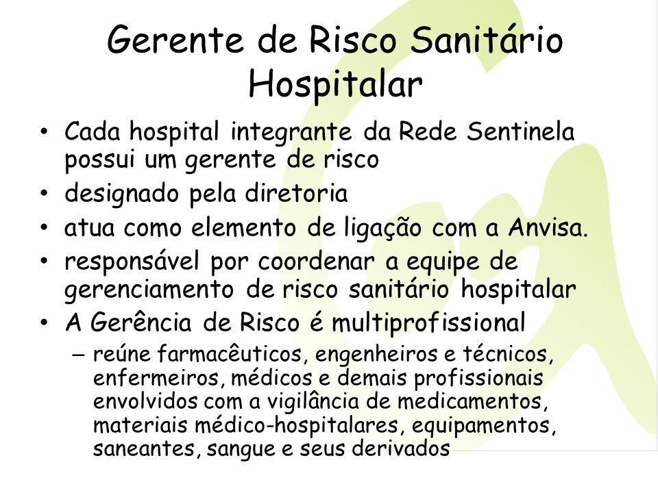 Gerente de Risco Sanitário Hospitalar Cada hospital integrante da Rede Sentinela possui um gerente de risco designado pela diretoria atua como element