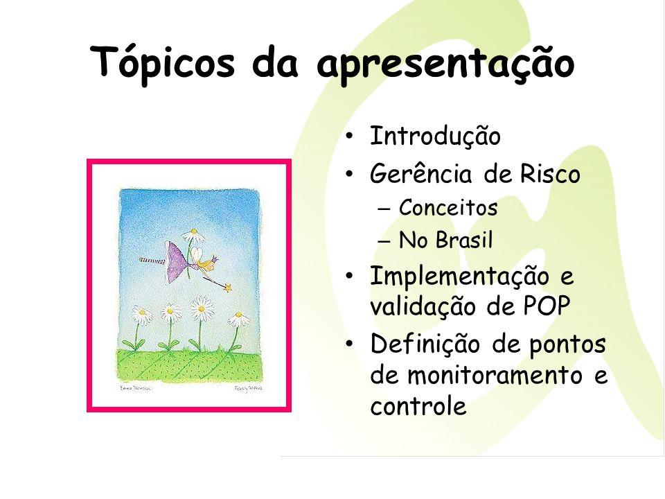 Tópicos da apresentação Introdução Gerência de Risco – Conceitos – No Brasil Implementação e validação de POP Definição de pontos de monitoramento e c