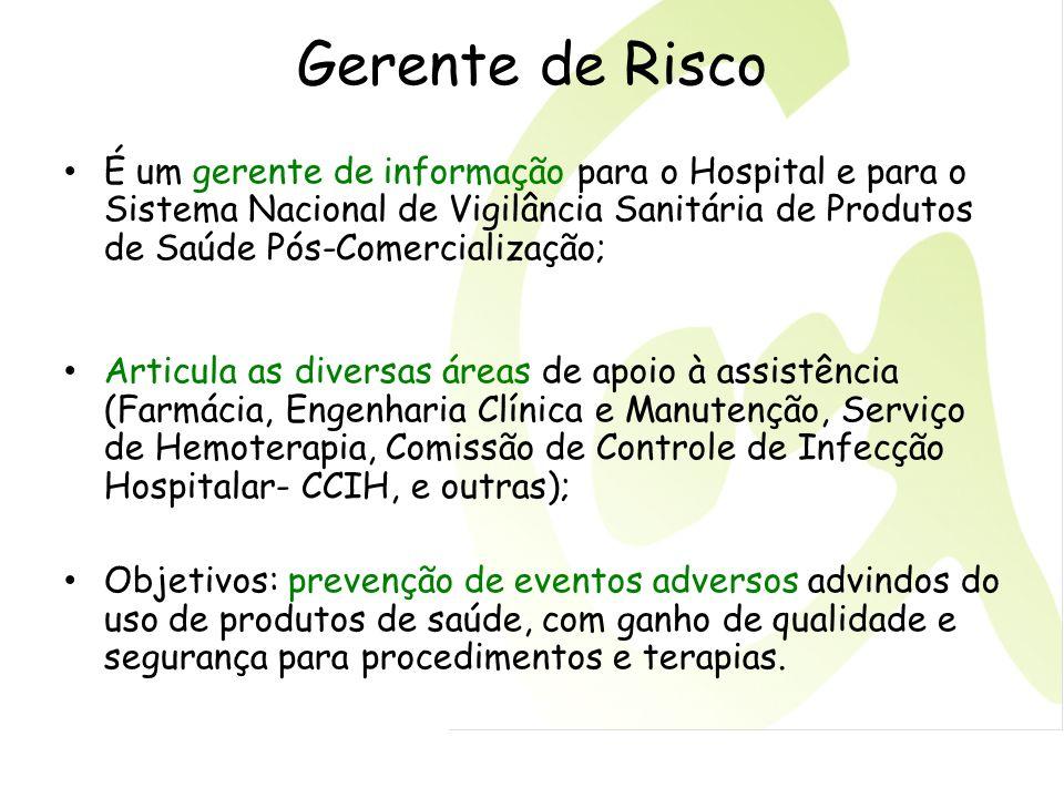 Gerente de Risco É um gerente de informação para o Hospital e para o Sistema Nacional de Vigilância Sanitária de Produtos de Saúde Pós-Comercialização