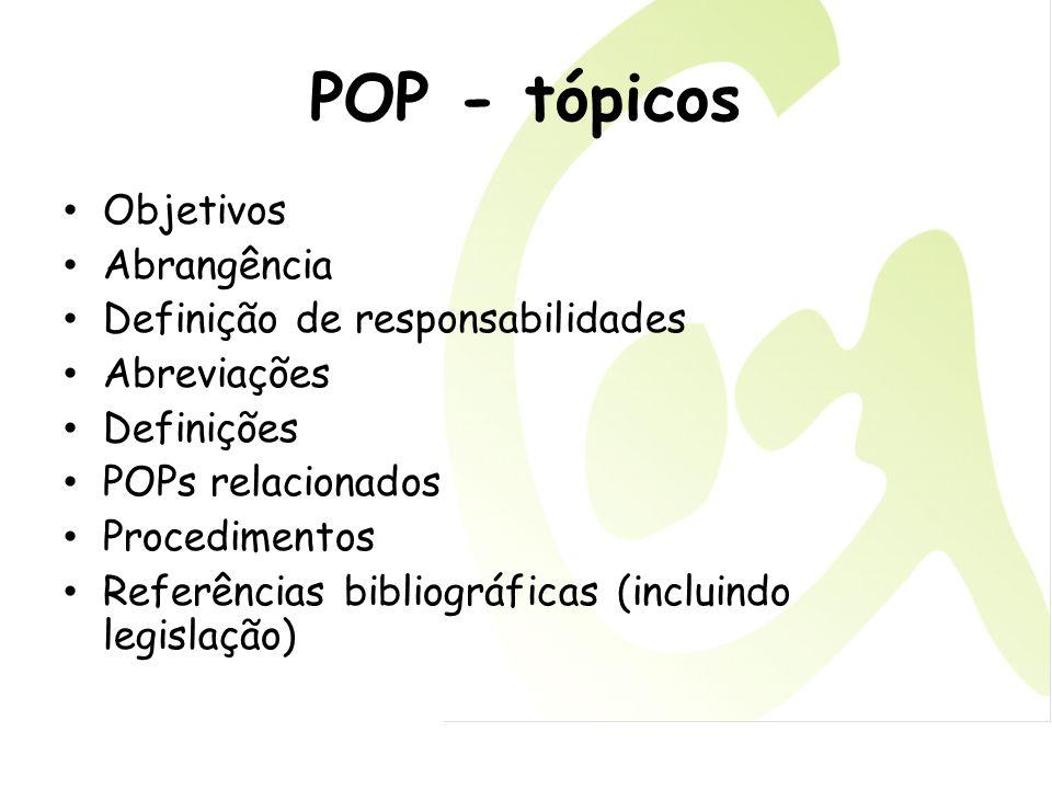 POP - tópicos Objetivos Abrangência Definição de responsabilidades Abreviações Definições POPs relacionados Procedimentos Referências bibliográficas (