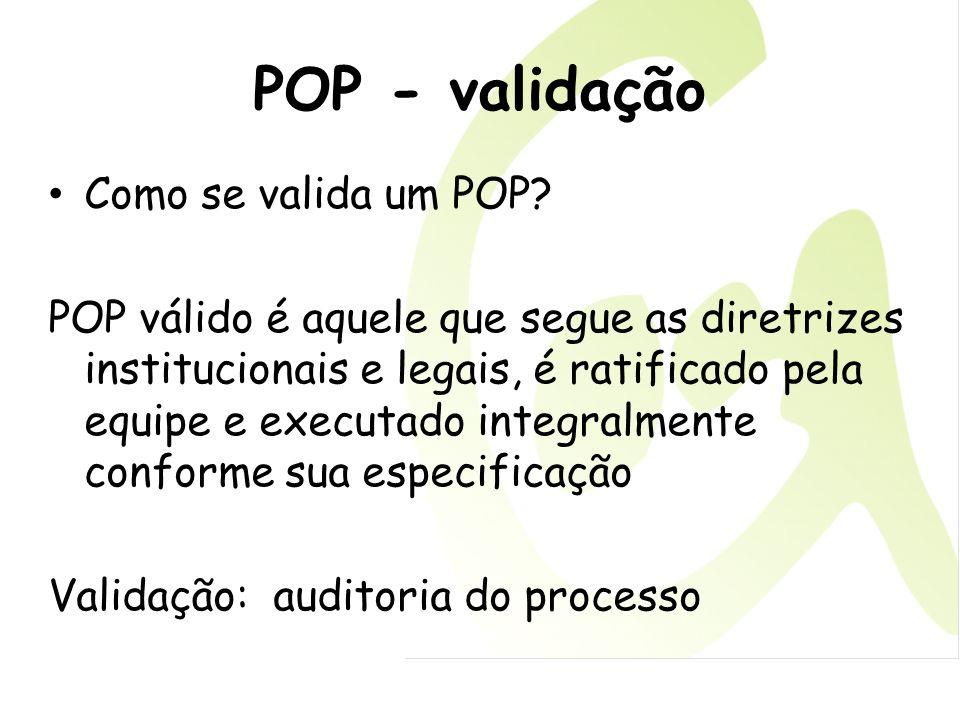 POP - validação Como se valida um POP? POP válido é aquele que segue as diretrizes institucionais e legais, é ratificado pela equipe e executado integ
