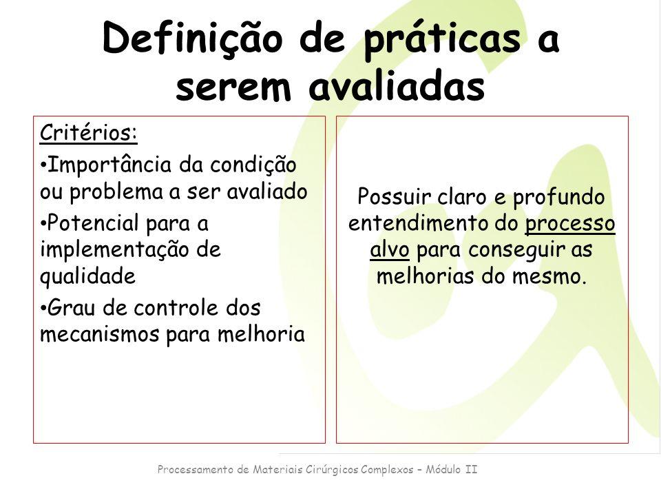 Processamento de Materiais Cirúrgicos Complexos – Módulo II Definição de práticas a serem avaliadas Critérios: Importância da condição ou problema a s