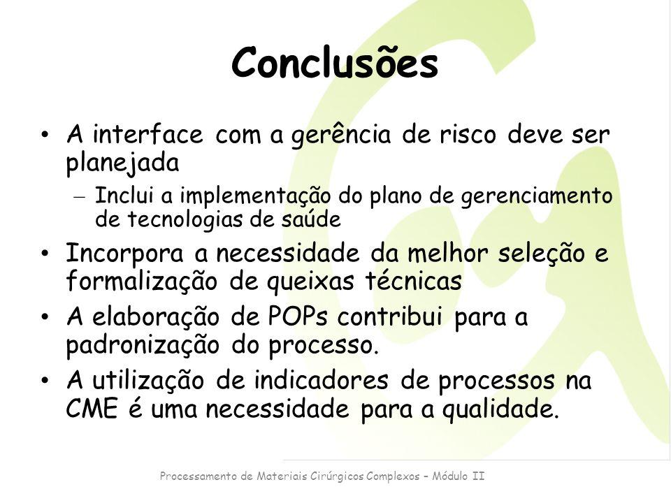 Processamento de Materiais Cirúrgicos Complexos – Módulo II Conclusões A interface com a gerência de risco deve ser planejada – Inclui a implementação