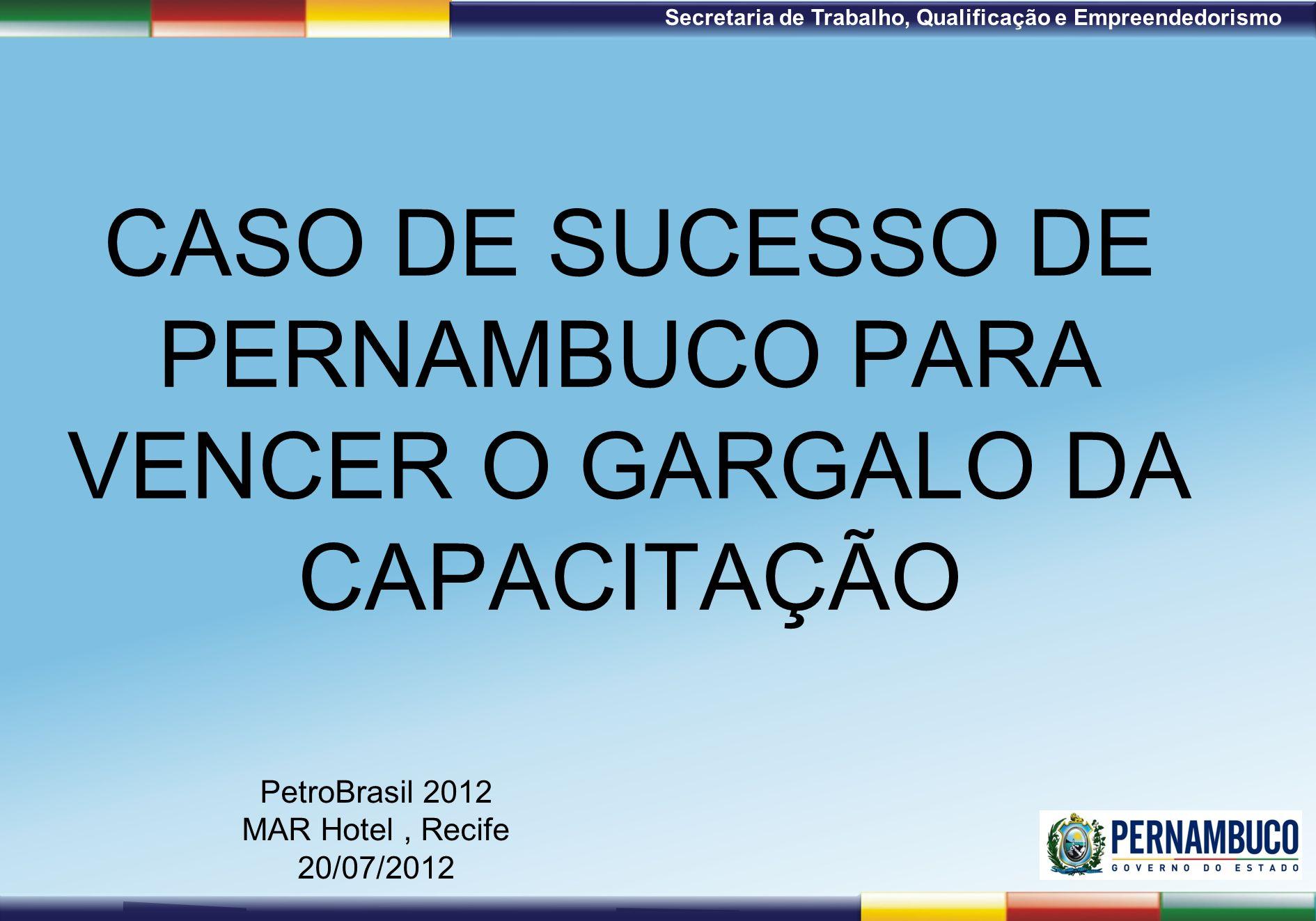1ª Reunião de Monitoramento 2009 – 31/03/09 Secretaria de Trabalho, Qualificação e Empreendedorismo CASO DE SUCESSO DE PERNAMBUCO PARA VENCER O GARGAL