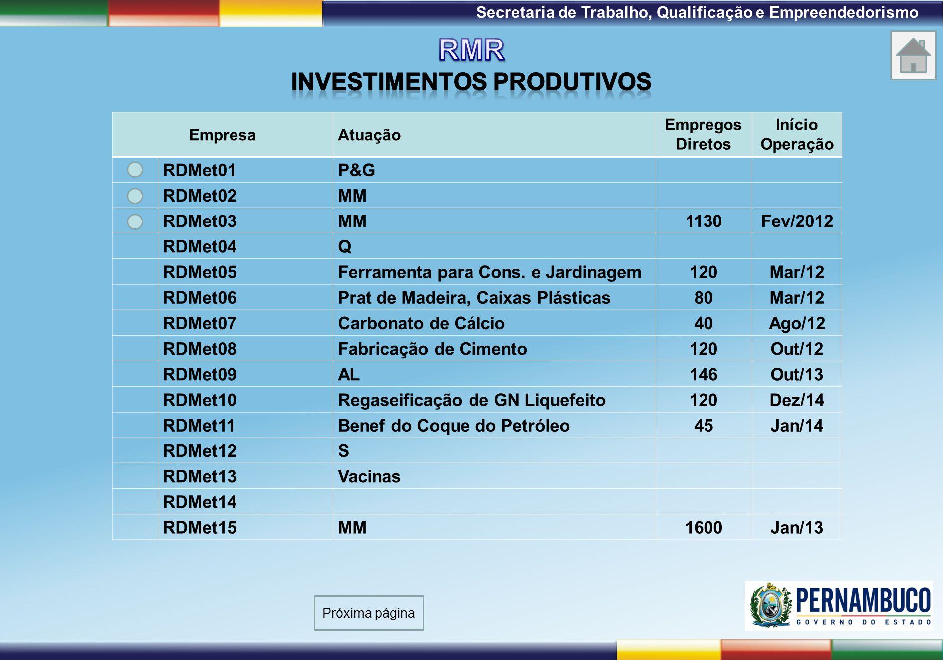 1ª Reunião de Monitoramento 2009 – 31/03/09 Secretaria de Trabalho, Qualificação e Empreendedorismo EmpresaAtuação Empregos Diretos Início Operação RD