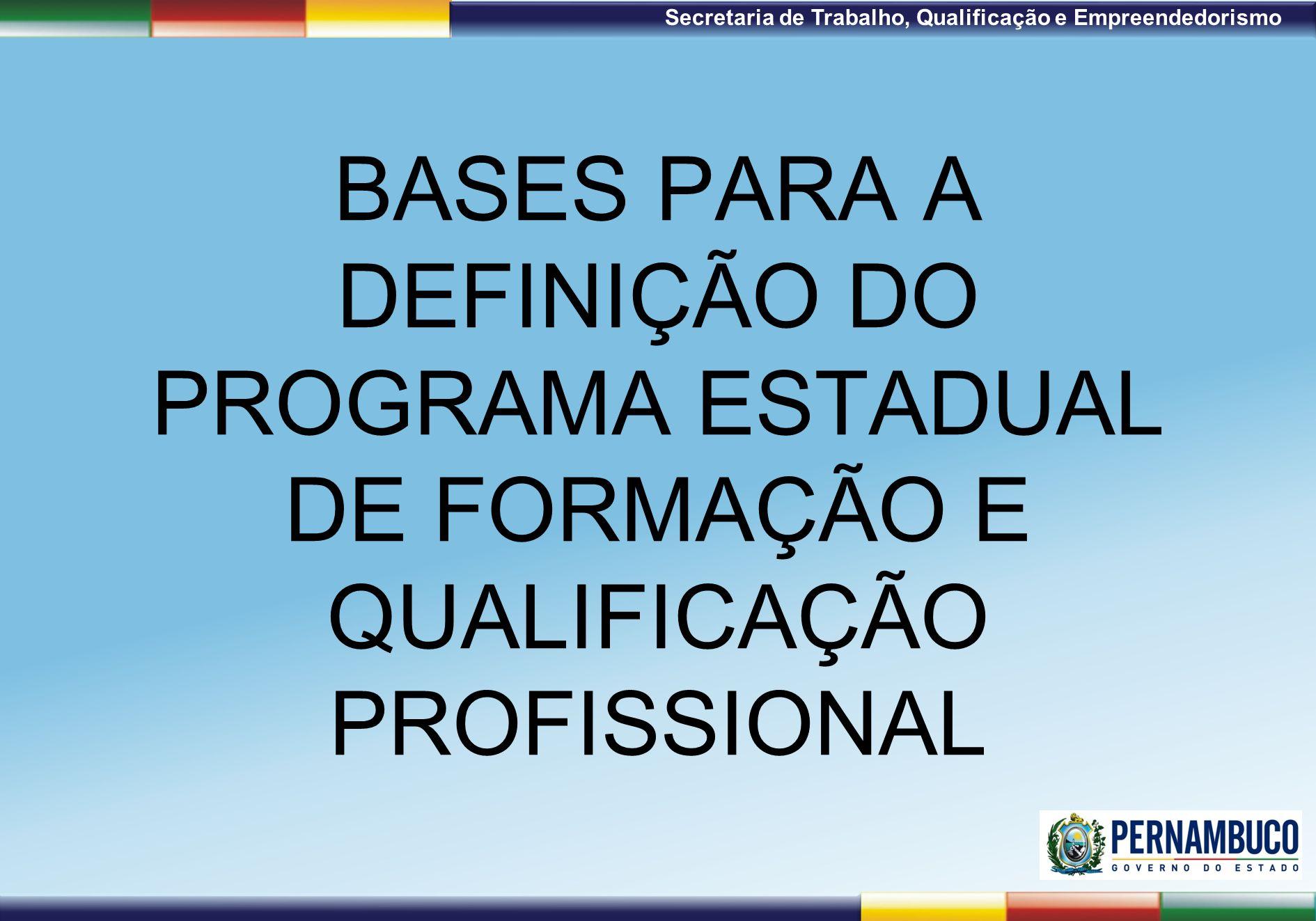 1ª Reunião de Monitoramento 2009 – 31/03/09 Secretaria de Trabalho, Qualificação e Empreendedorismo BASES PARA A DEFINIÇÃO DO PROGRAMA ESTADUAL DE FOR