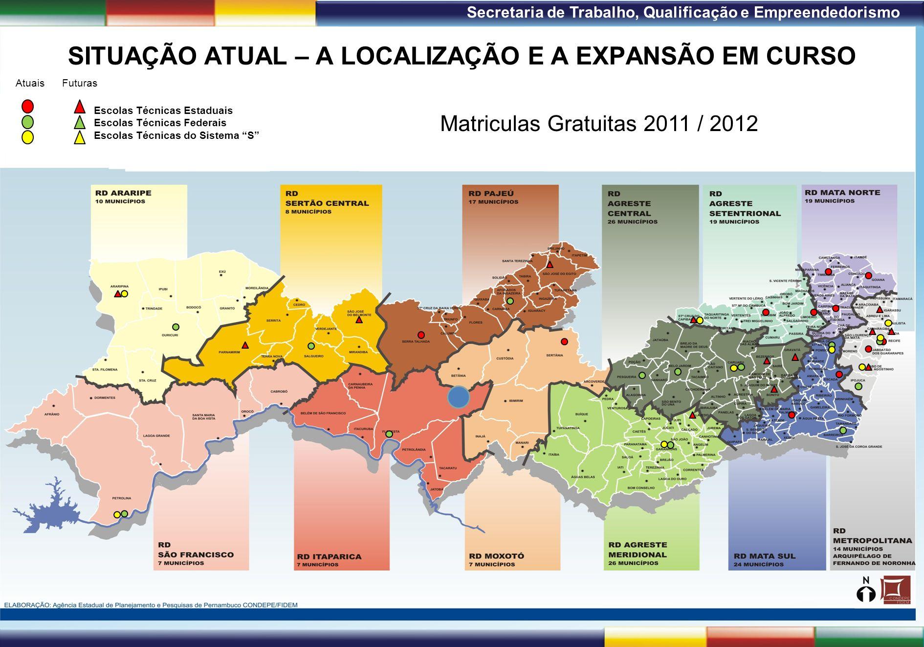 1ª Reunião de Monitoramento 2009 – 31/03/09 Secretaria de Trabalho, Qualificação e Empreendedorismo SITUAÇÃO ATUAL – A LOCALIZAÇÃO E A EXPANSÃO EM CUR