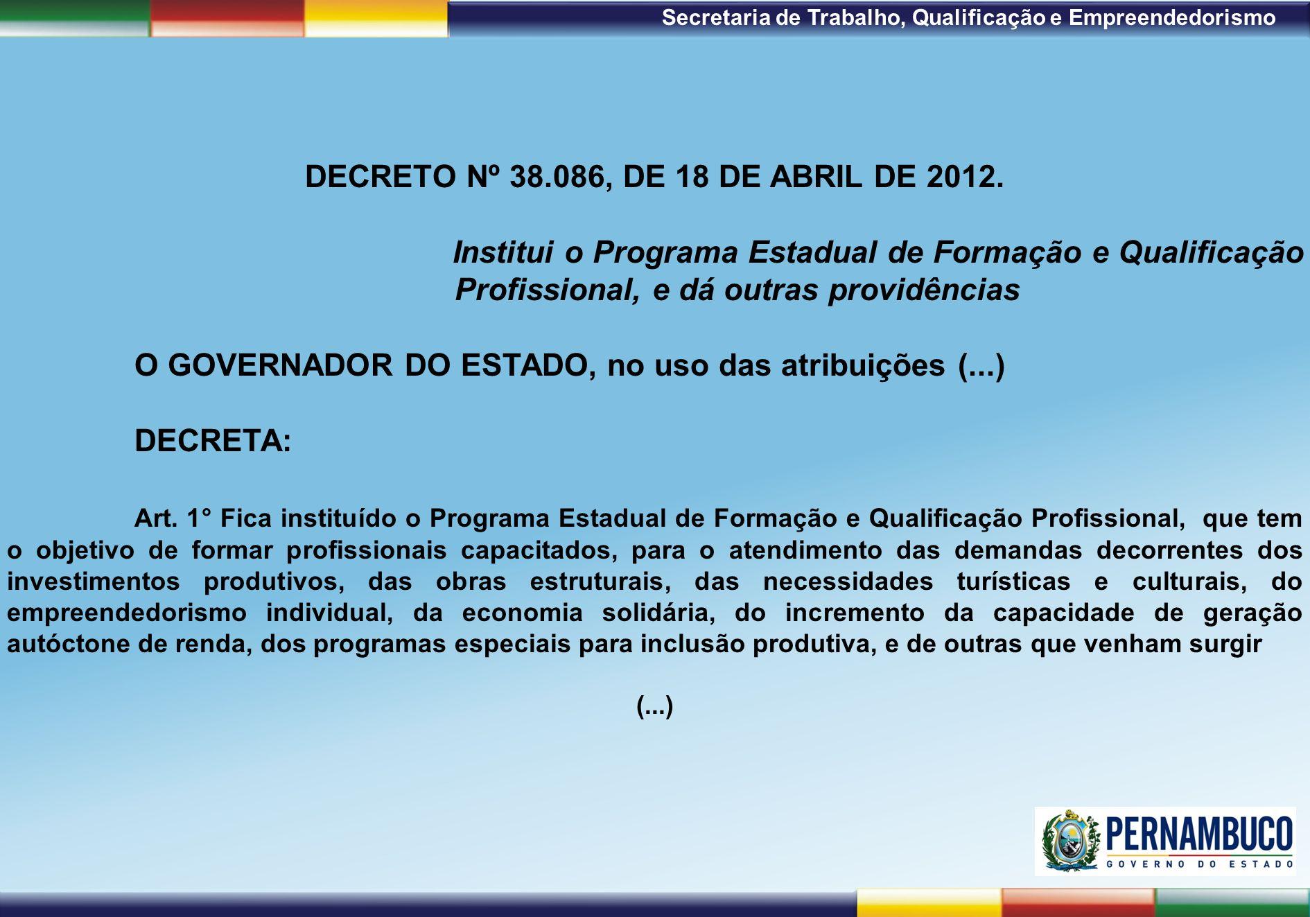 1ª Reunião de Monitoramento 2009 – 31/03/09 Secretaria de Trabalho, Qualificação e Empreendedorismo DECRETO Nº 38.086, DE 18 DE ABRIL DE 2012. Institu