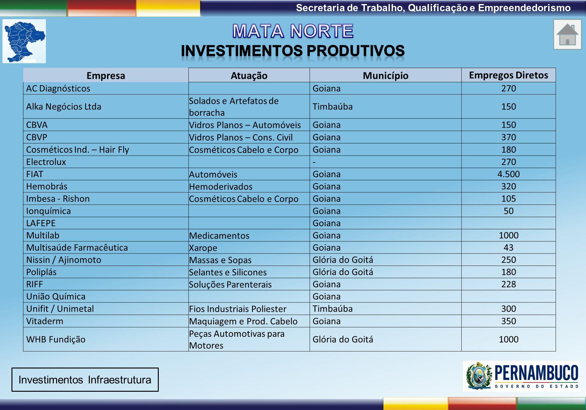 1ª Reunião de Monitoramento 2009 – 31/03/09 Secretaria de Trabalho, Qualificação e Empreendedorismo Emprego Formal (Fonte : Agência CONDEPE / FIDEM) Investimentos Produtivos