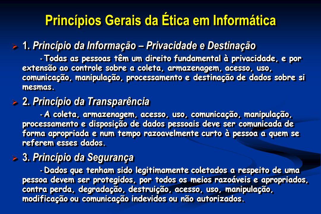 Princípios Gerais da Ética em Informática 1. Princípio da Informação – Privacidade e Destinação 1. Princípio da Informação – Privacidade e Destinação