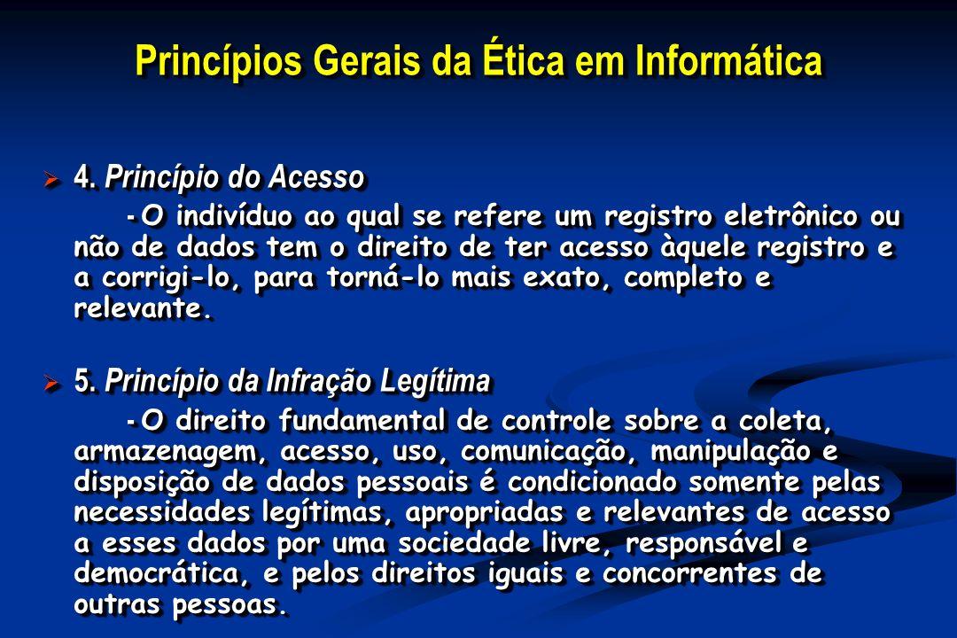 Princípios Gerais da Ética em Informática 4. Princípio do Acesso 4. Princípio do Acesso - O indivíduo ao qual se refere um registro eletrônico ou não