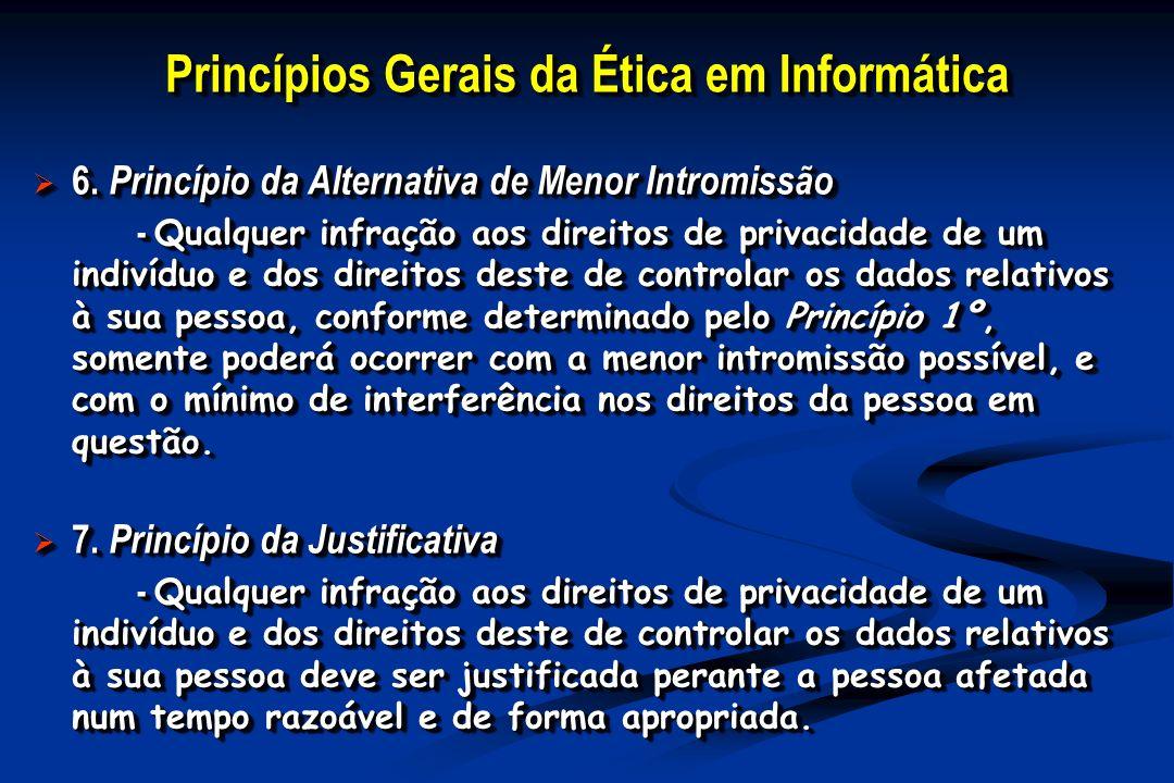 Princípios Gerais da Ética em Informática 6. Princípio da Alternativa de Menor Intromissão 6.