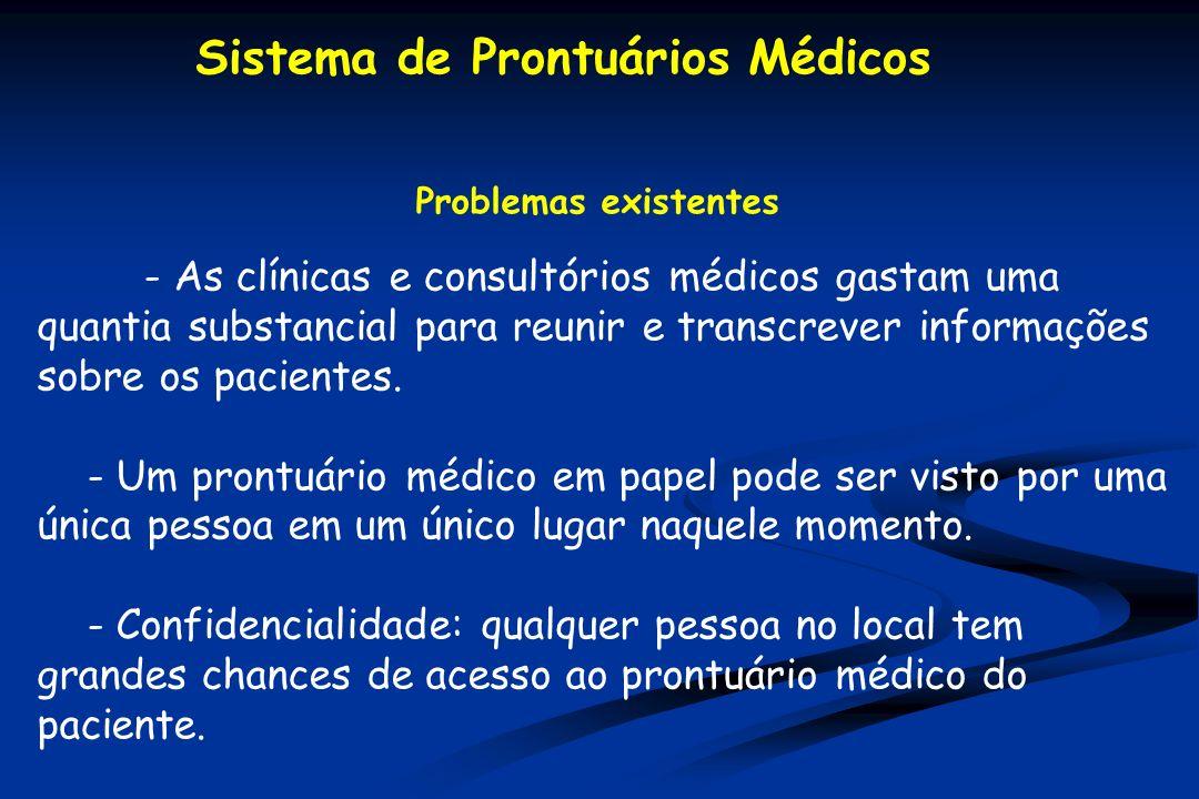 Problemas existentes - As clínicas e consultórios médicos gastam uma quantia substancial para reunir e transcrever informações sobre os pacientes.