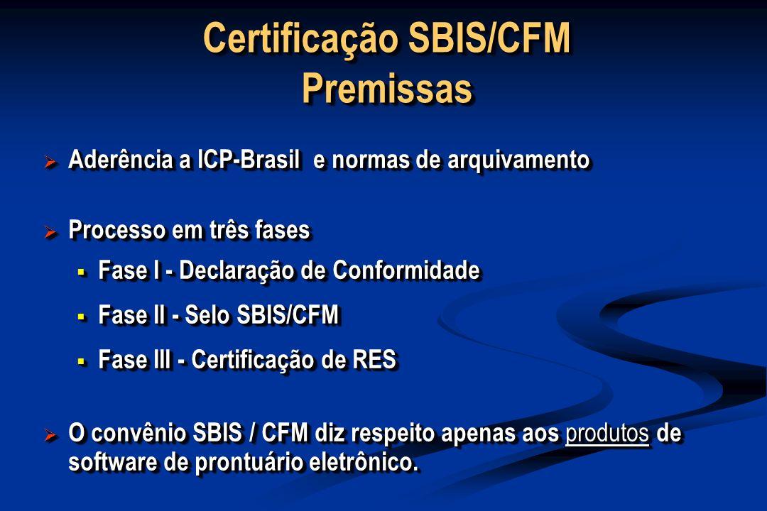 Certificação SBIS/CFM Premissas Aderência a ICP-Brasil e normas de arquivamento Aderência a ICP-Brasil e normas de arquivamento Processo em três fases Processo em três fases Fase I - Declaração de Conformidade Fase I - Declaração de Conformidade Fase II - Selo SBIS/CFM Fase II - Selo SBIS/CFM Fase III - Certificação de RES Fase III - Certificação de RES O convênio SBIS / CFM diz respeito apenas aos produtos de software de prontuário eletrônico.