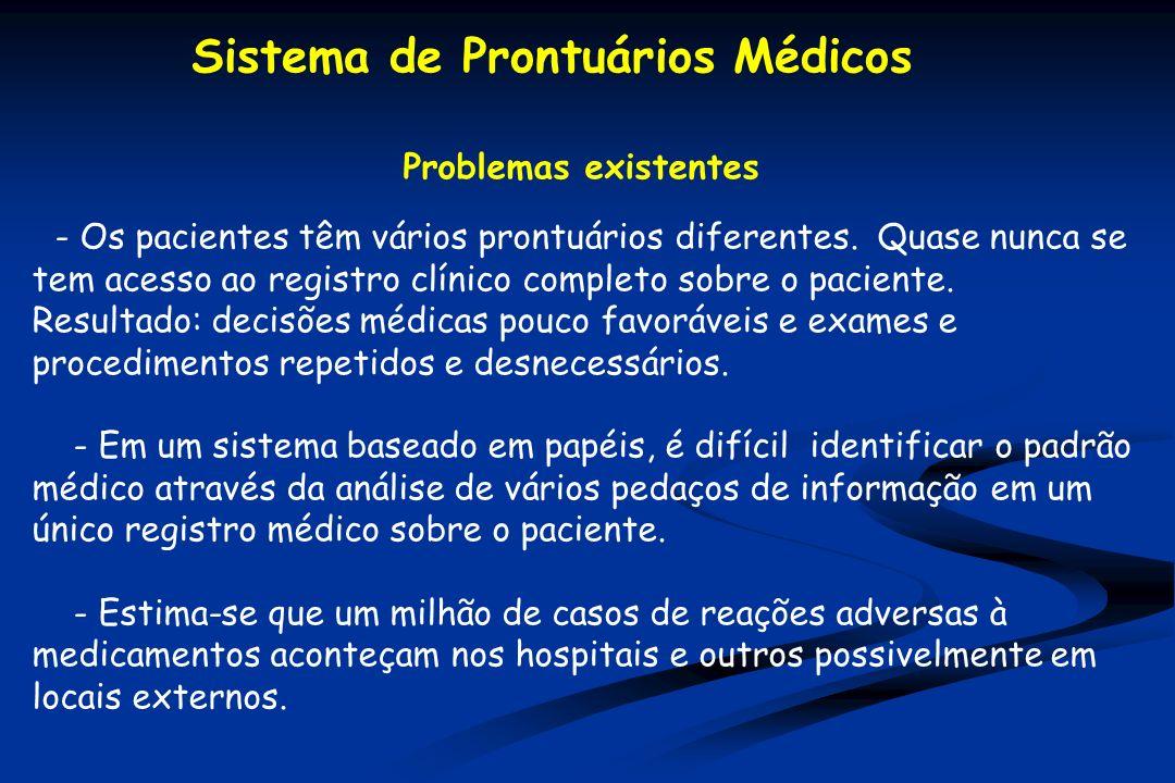 Problemas existentes - Os pacientes têm vários prontuários diferentes. Quase nunca se tem acesso ao registro clínico completo sobre o paciente. Result