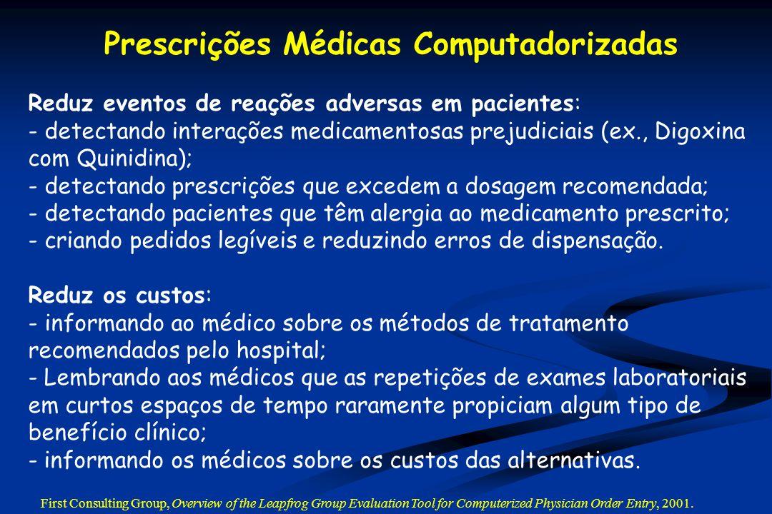 Reduz eventos de reações adversas em pacientes: - detectando interações medicamentosas prejudiciais (ex., Digoxina com Quinidina); - detectando prescr