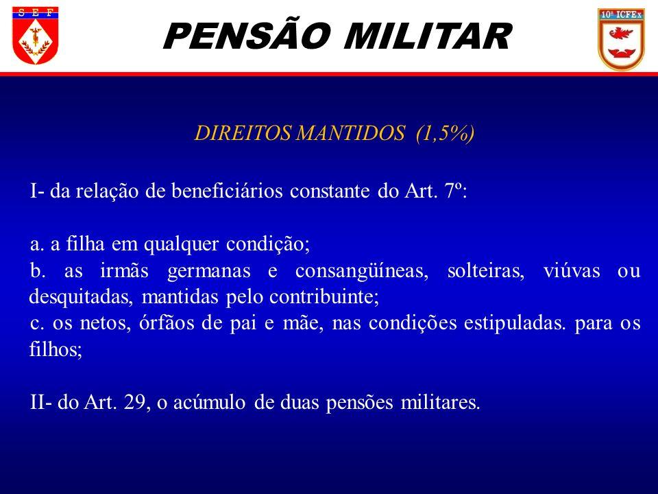 PENSÃO MILITAR DIREITOS MANTIDOS (1,5%) I- da relação de beneficiários constante do Art. 7º: a. a filha em qualquer condição; b. as irmãs germanas e c