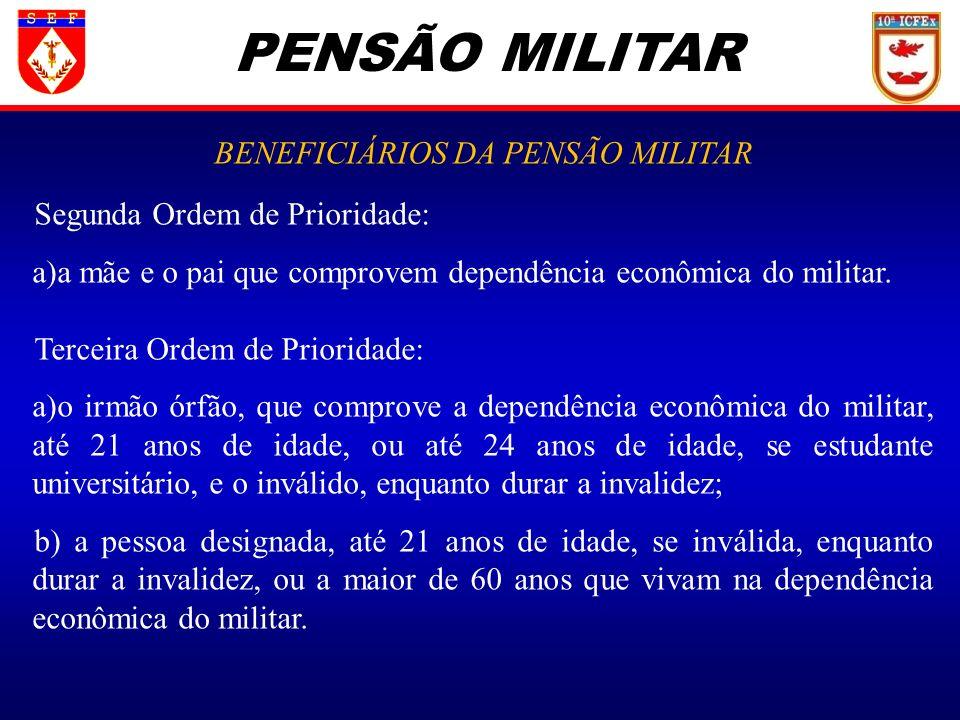 PENSÃO MILITAR BENEFICIÁRIOS DA PENSÃO MILITAR Segunda Ordem de Prioridade: a)a mãe e o pai que comprovem dependência econômica do militar. Terceira O