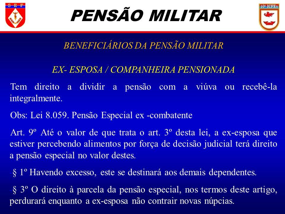 PENSÃO MILITAR BENEFICIÁRIOS DA PENSÃO MILITAR EX- ESPOSA / COMPANHEIRA PENSIONADA Tem direito a dividir a pensão com a viúva ou recebê-la integralmen
