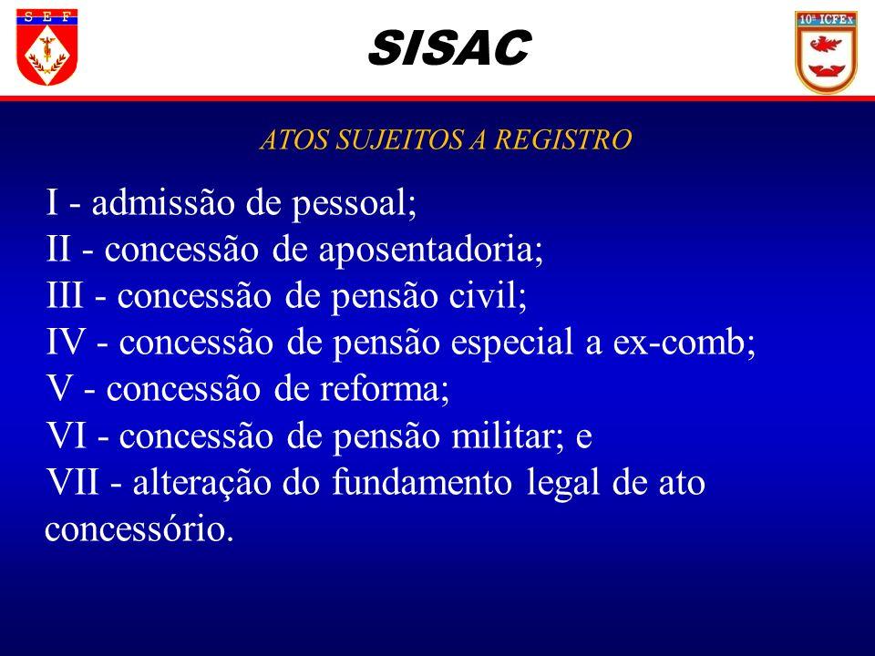 SISAC ATOS SUJEITOS A REGISTRO I - admissão de pessoal; II - concessão de aposentadoria; III - concessão de pensão civil; IV - concessão de pensão esp