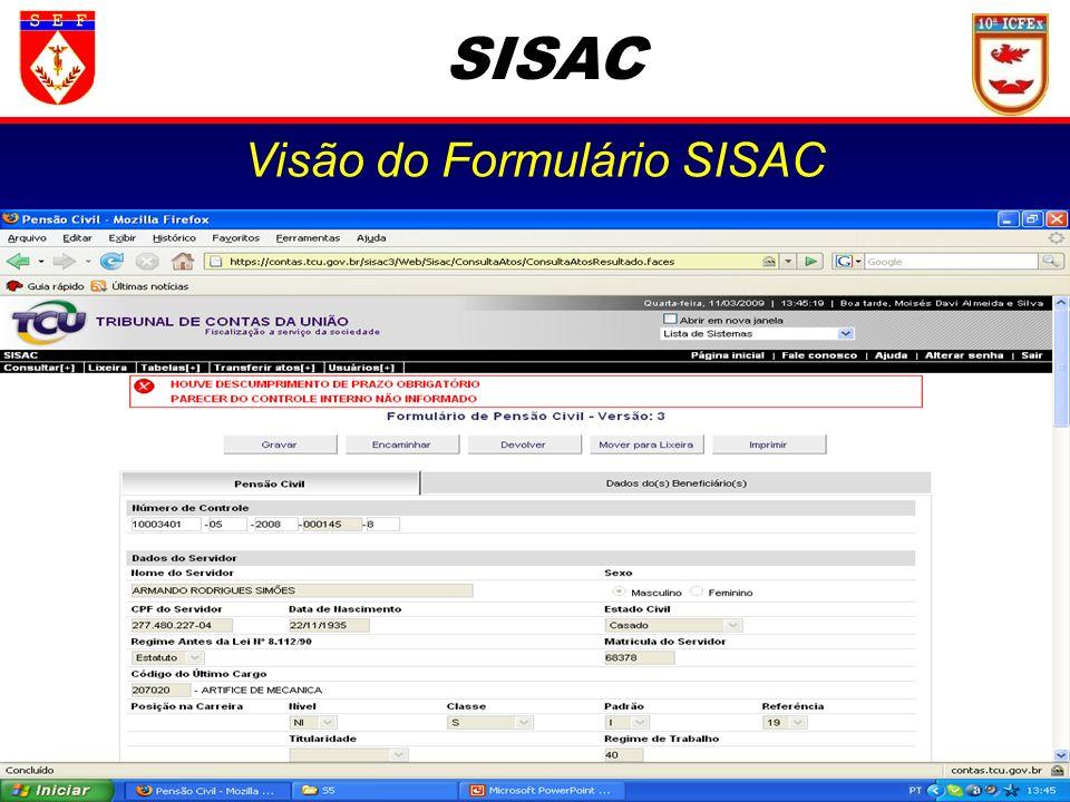 SISAC Visão do Formulário SISAC