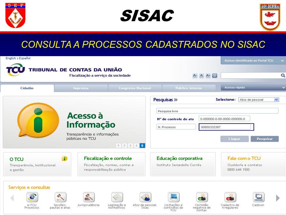 SISAC CONSULTA A PROCESSOS CADASTRADOS NO SISAC