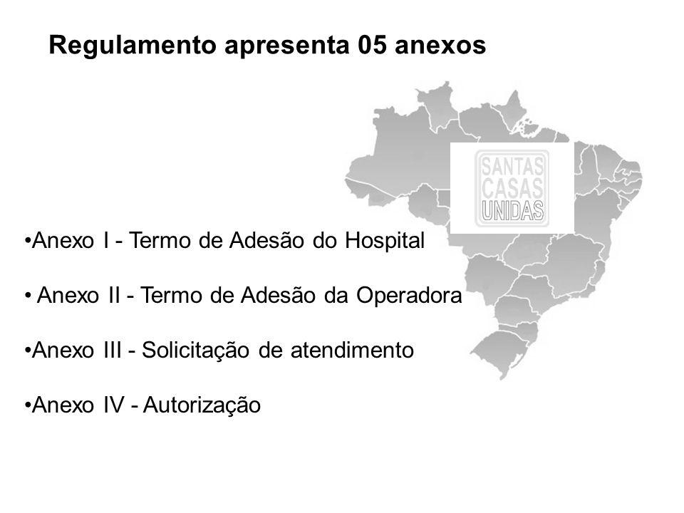 Regulamento apresenta 05 anexos Anexo I - Termo de Adesão do Hospital Anexo II - Termo de Adesão da Operadora Anexo III - Solicitação de atendimento A