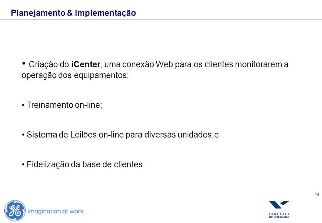 14 Planejamento & Implementação Criação do iCenter, uma conexão Web para os clientes monitorarem a operação dos equipamentos; Treinamento on-line; Sis