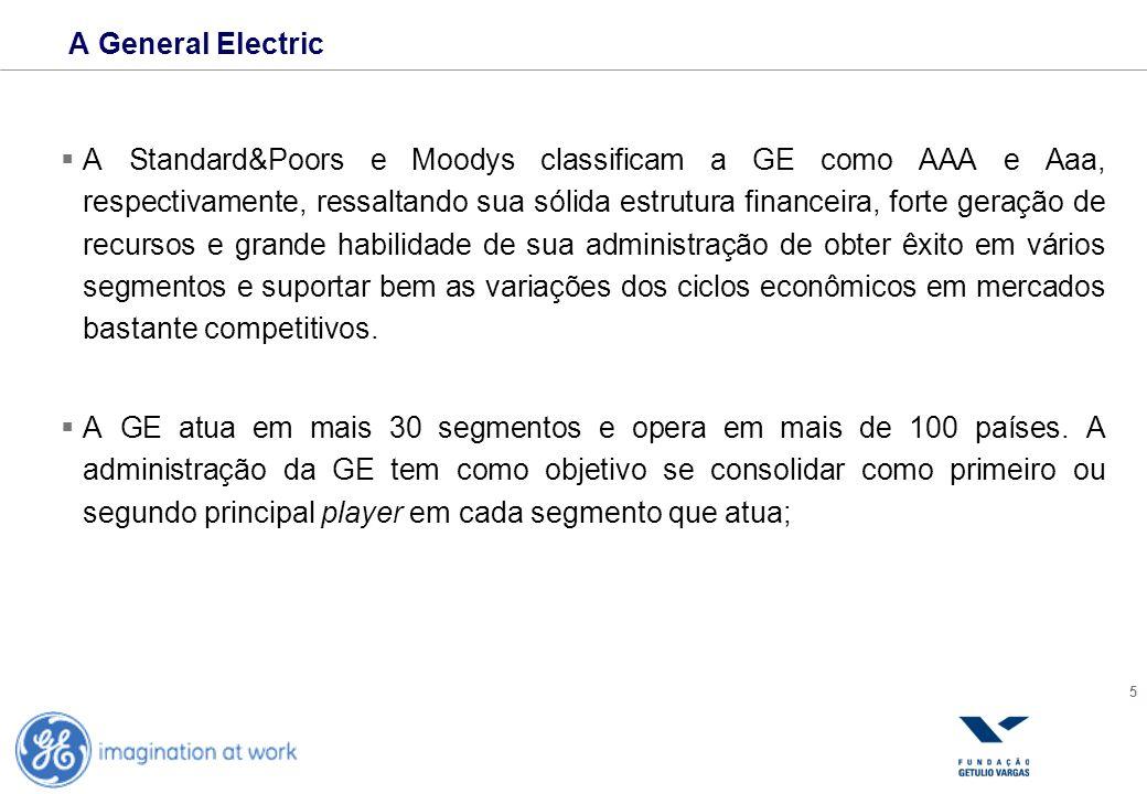 5 A General Electric A Standard&Poors e Moodys classificam a GE como AAA e Aaa, respectivamente, ressaltando sua sólida estrutura financeira, forte ge