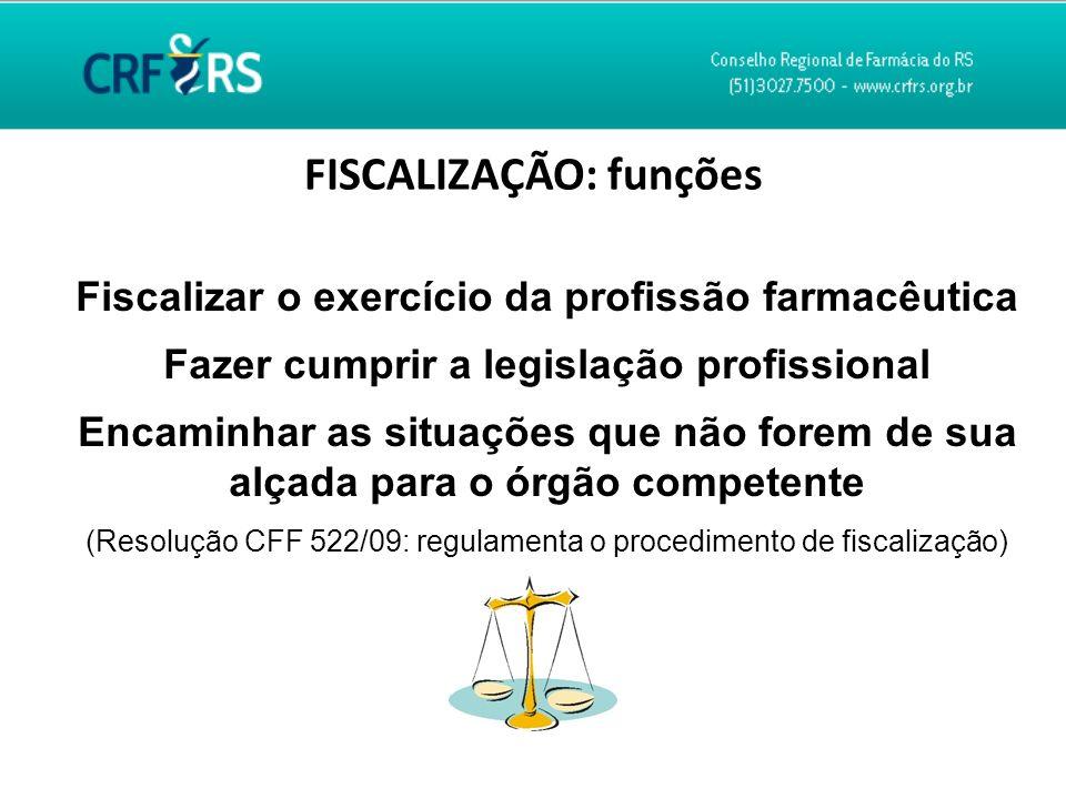 FISCALIZAÇÃO: funções Fiscalizar o exercício da profissão farmacêutica Fazer cumprir a legislação profissional Encaminhar as situações que não forem d
