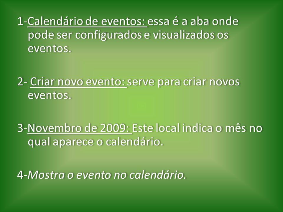 1-Calendário de eventos: essa é a aba onde pode ser configurados e visualizados os eventos. 2- Criar novo evento: serve para criar novos eventos. 3-No