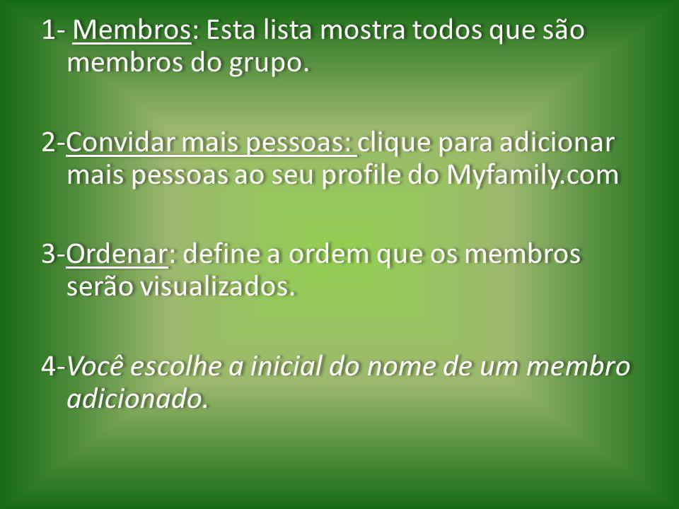 1- Membros: Esta lista mostra todos que são membros do grupo. 2-Convidar mais pessoas: clique para adicionar mais pessoas ao seu profile do Myfamily.c