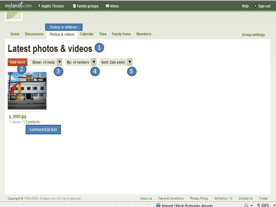 1- Últimas fotos e vídeos: essa é a aba onde pode ser configurados e visualizados os vídeos e as fotos.