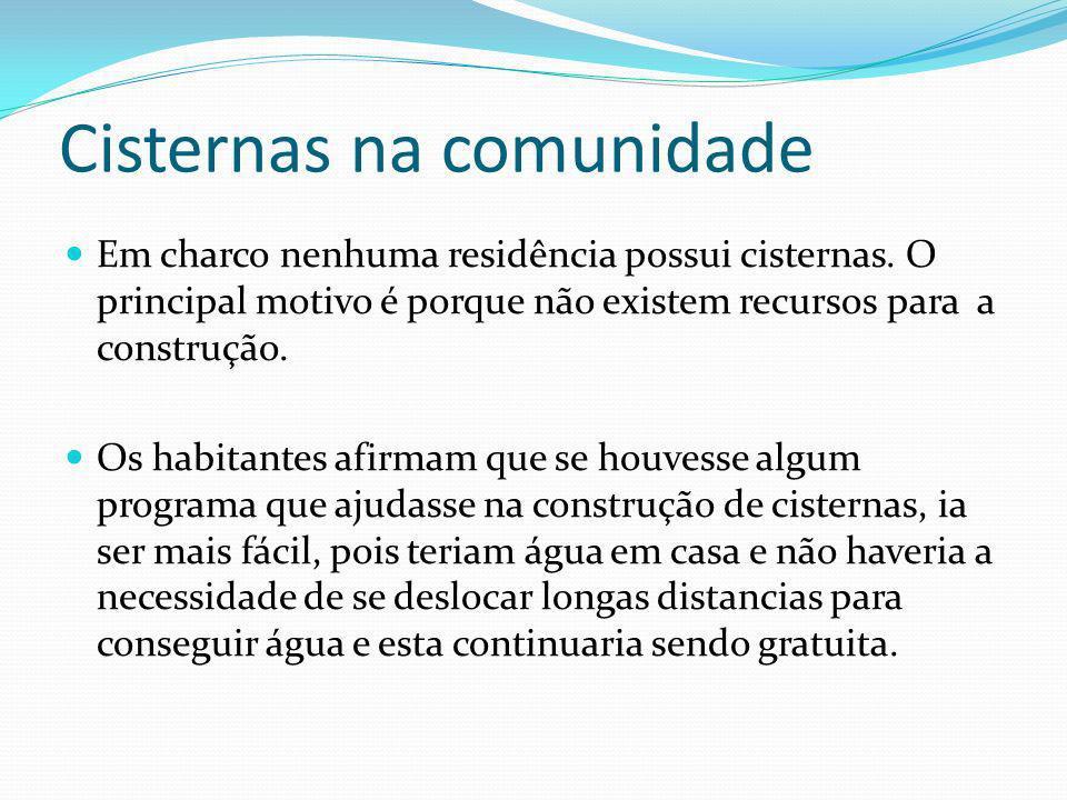 Cisternas na comunidade Em charco nenhuma residência possui cisternas. O principal motivo é porque não existem recursos para a construção. Os habitant