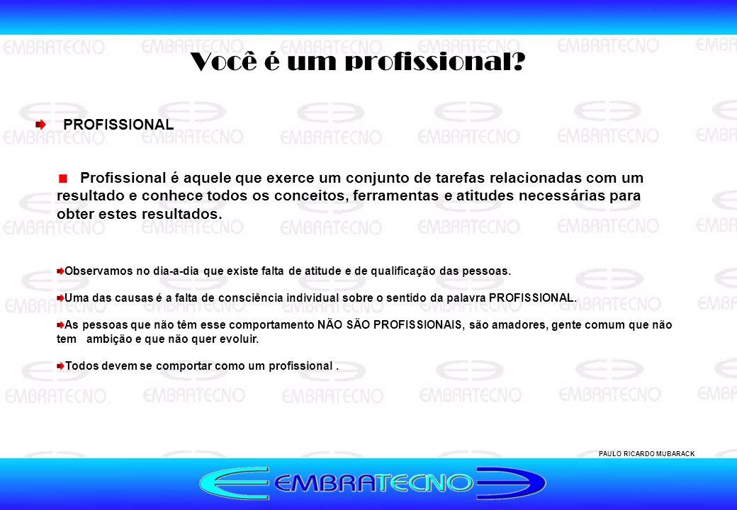 Você é um profissional? PAULO RICARDO MUBARACK Profissional é aquele que exerce um conjunto de tarefas relacionadas com um resultado e conhece todos o