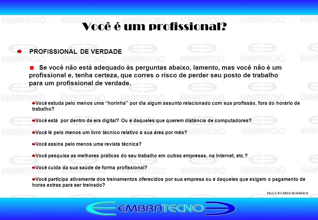 Você é um profissional? PAULO RICARDO MUBARACK Se você não está adequado às perguntas abaixo, lamento, mas você não é um profissional e, tenha certeza