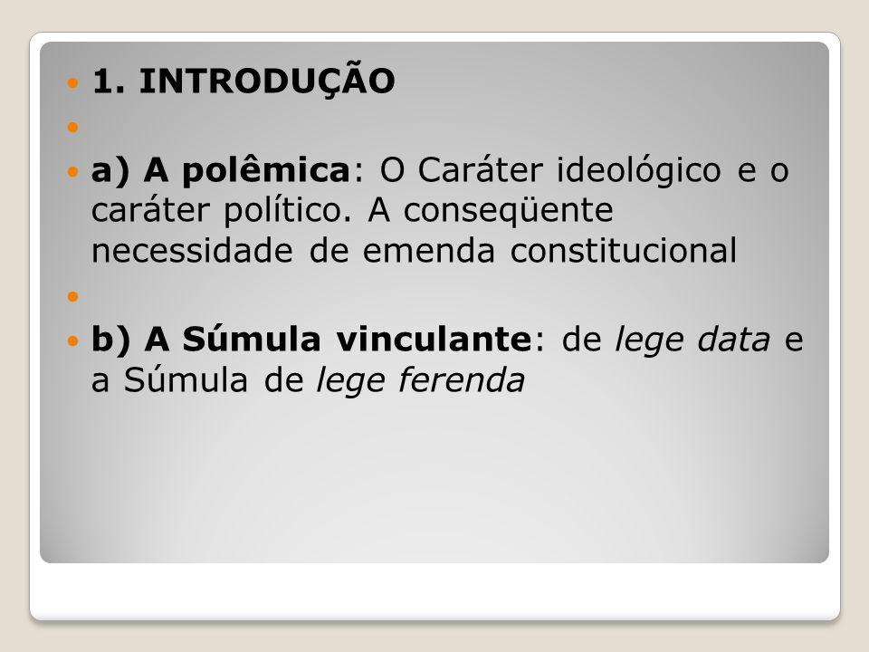 1. INTRODUÇÃO a) A polêmica: O Caráter ideológico e o caráter político. A conseqüente necessidade de emenda constitucional b) A Súmula vinculante: de