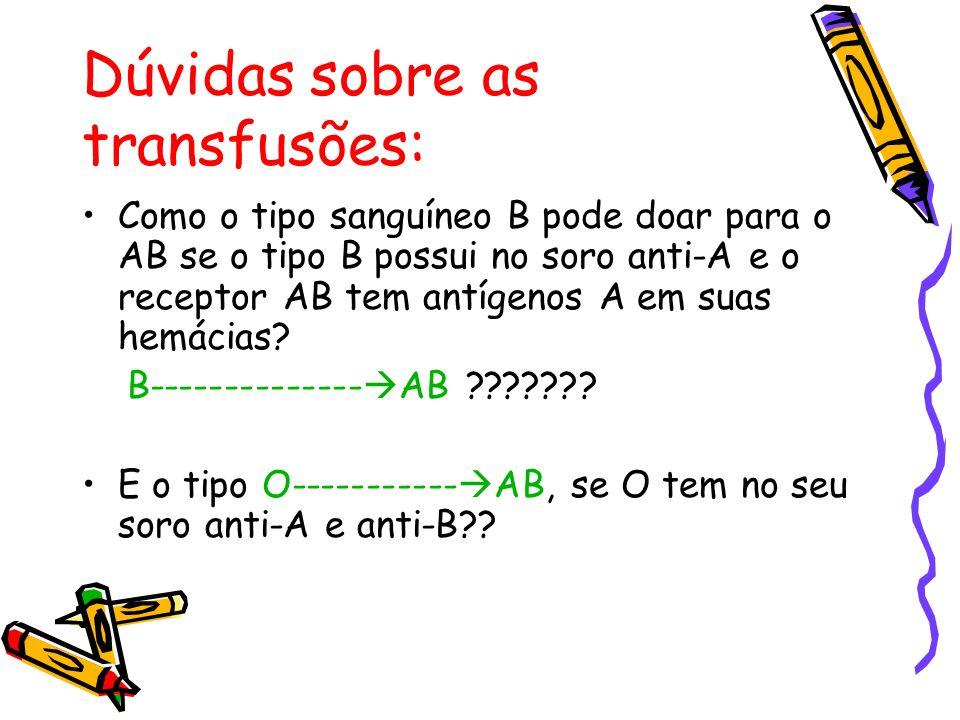 Dúvidas sobre as transfusões: Como o tipo sanguíneo B pode doar para o AB se o tipo B possui no soro anti-A e o receptor AB tem antígenos A em suas he