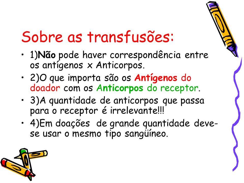 Sobre as transfusões: 1)Não pode haver correspondência entre os antígenos x Anticorpos. 2)O que importa são os Antígenos do doador com os Anticorpos d