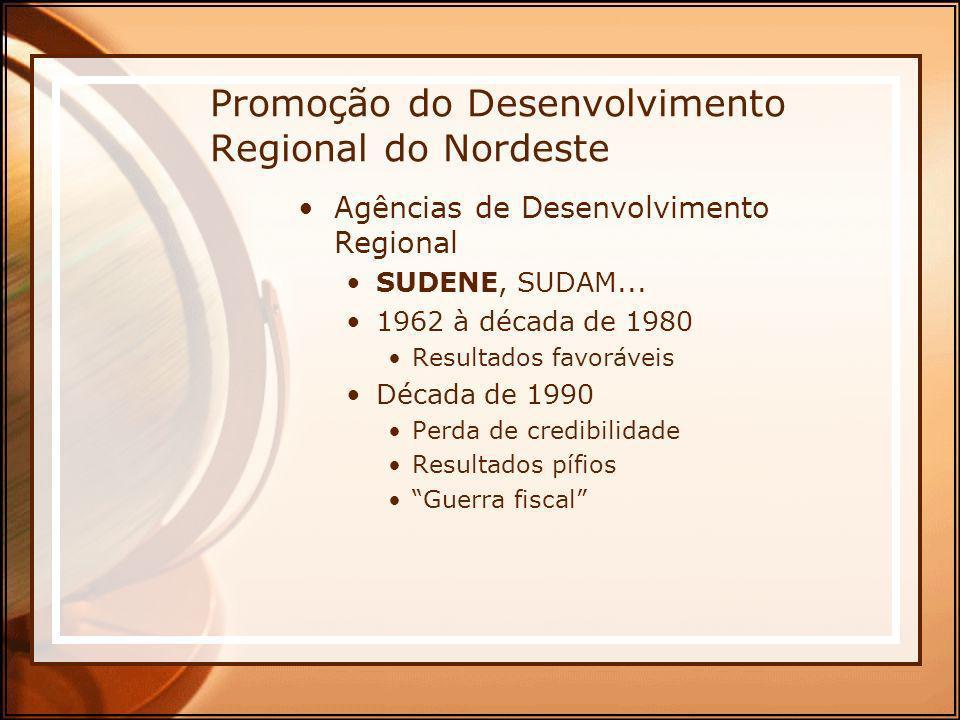 Promoção do Desenvolvimento Regional do Nordeste Agências de Desenvolvimento Regional SUDENE, SUDAM... 1962 à década de 1980 Resultados favoráveis Déc