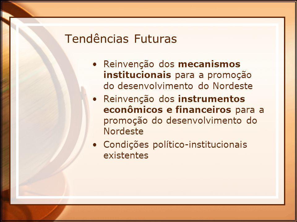 Tendências Futuras Reinvenção dos mecanismos institucionais para a promoção do desenvolvimento do Nordeste Reinvenção dos instrumentos econômicos e fi