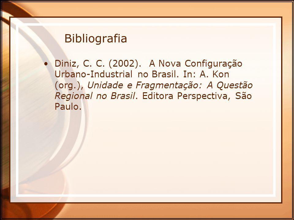 Bibliografia Diniz, C. C. (2002). A Nova Configuração Urbano-Industrial no Brasil. In: A. Kon (org.), Unidade e Fragmentação: A Questão Regional no Br