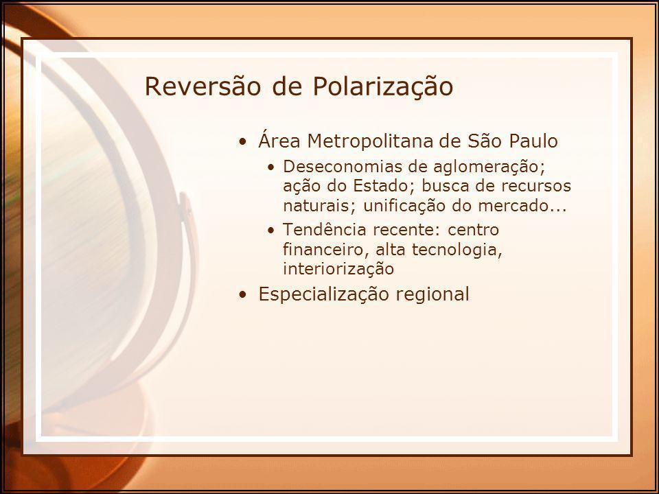 Reversão de Polarização Área Metropolitana de São Paulo Deseconomias de aglomeração; ação do Estado; busca de recursos naturais; unificação do mercado
