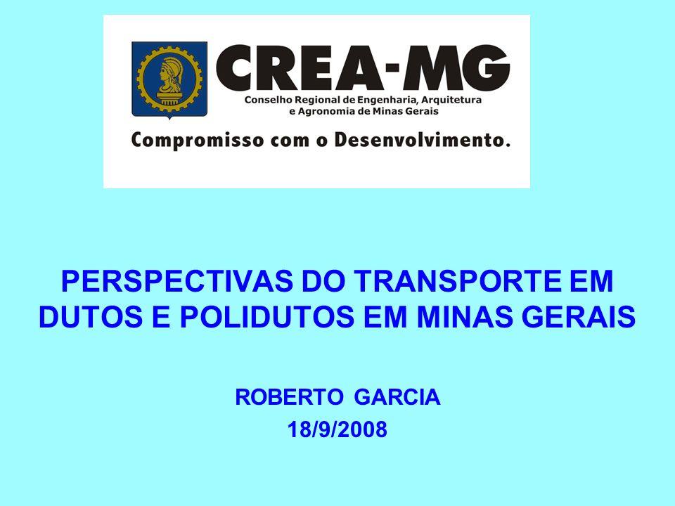 PERSPECTIVAS DO TRANSPORTE EM DUTOS E POLIDUTOS EM MINAS GERAIS ROBERTO GARCIA 18/9/2008