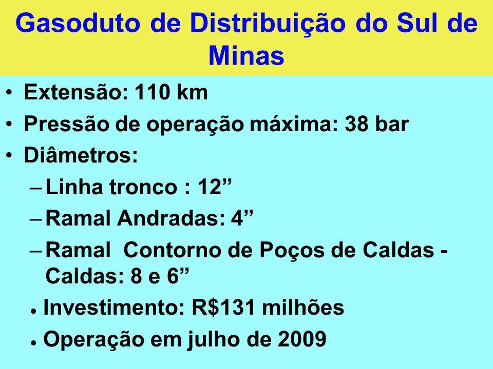 Gasoduto de Distribuição do Sul de Minas Extensão: 110 km Pressão de operação máxima: 38 bar Diâmetros: –Linha tronco : 12 –Ramal Andradas: 4 –Ramal C